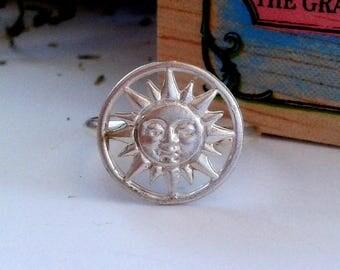 Sun Ring Sterling Silver - Sun Ring - Celestial Jewelry - Hyperion Jewelry - Sun Face Ring - Celestial Ring - Sterling Silver Sun Ring