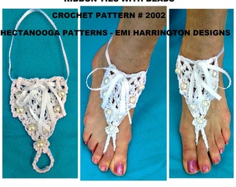 BAREFOOT sandals, BEACH WEDDING sandals, Crochet Pattern - #2002, One size fits all