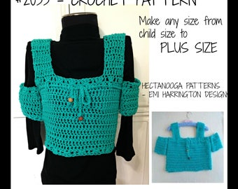 CROCHET SWEATER PATTERN, Open Shoulder Shell Top, make any size, Quick and Easy Pattern, #2033, Women's clothing, Children, girls, teens