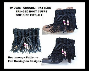 CROCHET PATTERN - fringed boot cuffs, crochet for women, teen accessory, winter clothing, gift for her, #1002BC