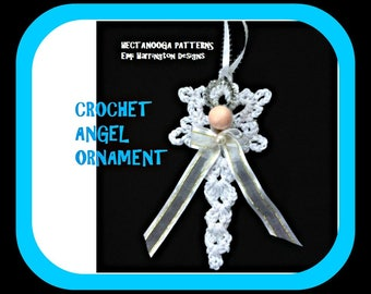 CROCHET ANGEL PATTERN- Crochet Christmas Ornament, hanging ornament, tree ornament, gift topper, Crochet Patterns, #2135, Holiday Decor