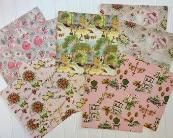 5 Vintage Everyday and Floral Wrapping Papers, Vintage Floral Gift-wrap, Bridal Shower Wrapping Paper, 1950s