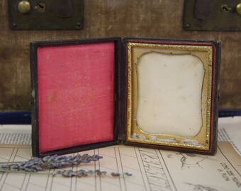 Antique Embossed Victorian FRAME- with Hook Clasp on Side- Red Satin- Gold Embossed Frame- Tooled Leather- Travel Frame