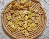 RESERVED Vintage YELLOW BUTTONS Lot Multi Designs Decorative Prs Singles, Art Sewing Clothing Collage Destash Notions 10