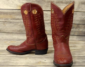 Mens 6 D Cowboy Boots Tony Lama Vintage Brick Red Brown Kids Country Western