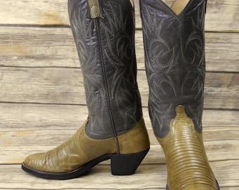 Womens Size 6 C Cowboy Boots Dan Post Vintage Lizard Boho Western Wide Grey Gray