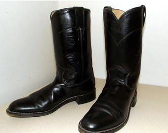 Broken In Justin Cowboy Boots Black Roper Style