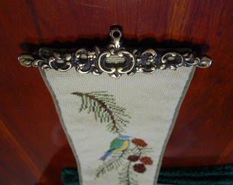 """39"""" Song Bird Bell Pull Needlepoint Vintage Bellpull Pine Cone Mountain Cabin Decor Brass Hanger Velveteen Backing Songbird"""