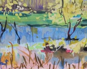 Savannah Wildlife Refuge, Georgia, marsh, landscape, autumn, 8 x 10 inches, impressionism, impressionistic, watercolor, gouache,salt marsh