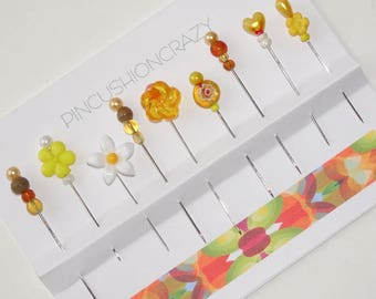 Yellow Beaded Pins - Set of 9 - Pincushion Pins - Sewing Accessory - Gift for Quilter - Scrapbook Embellishments - Secret Sister -    OOAK