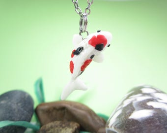 Koi Necklace, koi jewelry, fish necklace, fish jewelry, koi gift, miniature animal, polymer clay, unique necklace gift totem friend gift