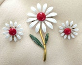 50s Jewelry: Earrings, Necklace, Brooch, Bracelet White and Red Enamel Daisy Flower Brooch  Earrings Set Vintage Flower Power $18.00 AT vintagedancer.com