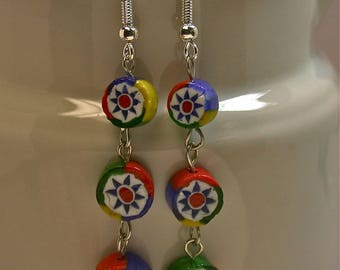 Vintage Venetian Millefiori Red Yellow Blue Green Cane Glass Dangle Drop Bead Earrings ,Silver French Ear Wires- GIFT WRAPPED