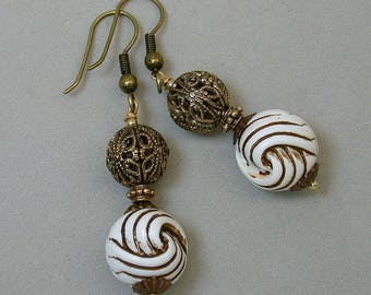 Vintage German Lucite White Amber Twist Knot Dangle Drop Bead Earrings, Vintage Filigree Antiqued Brass Beads - GIFT WRAPPED JEWELRY