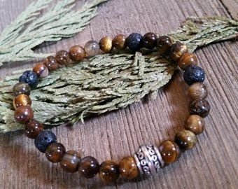 Aromatherapy Stretch Bracelet Natural Gemstone Lava Stone Essential Oil Tiger Eye Brown Tan Jewelry Bead