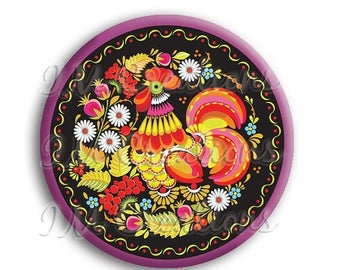 "20% OFF - Russian Rooster Pocket Mirror, Magnet or Pinback Button - Wedding Favors, Party themes - 2.25"" MR508"
