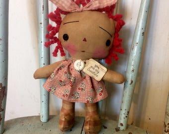 You are my sunshine Raggedy Ann doll - Raggedy Annie - Raggedy Ann - Ragdoll - Doll - pink - primitive doll - Ragdolls -