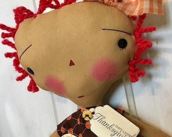 Thanksgiving Raggedy Annie- Raggedy Ann - thanksgiving - Turkey time - Ragdolls - primitive doll - happy Thanksgiving -