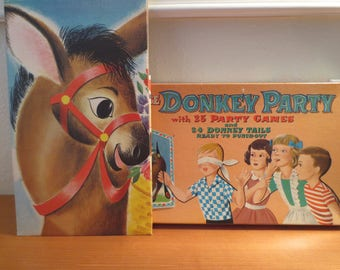 Vtg 1950s Pin the Tail on the Donkey Extra Large Board / UNUSED / Games Booklet / 24 Tails / Party Game Donkey Party, Game Room Art, Classic
