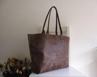 Brown Distressed Aged Genuine Leather Wide Tote Shoulder Bag