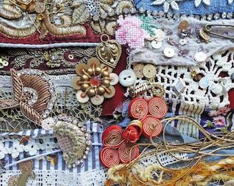 Textile cuff kit. Lot of vintage fabric scraps and embellishments. Lace, buttons, sequins, velvet, trim, appliques, beads.