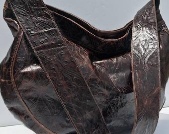 Damask Leather Overnight Travel Hobo Crossbody Bag