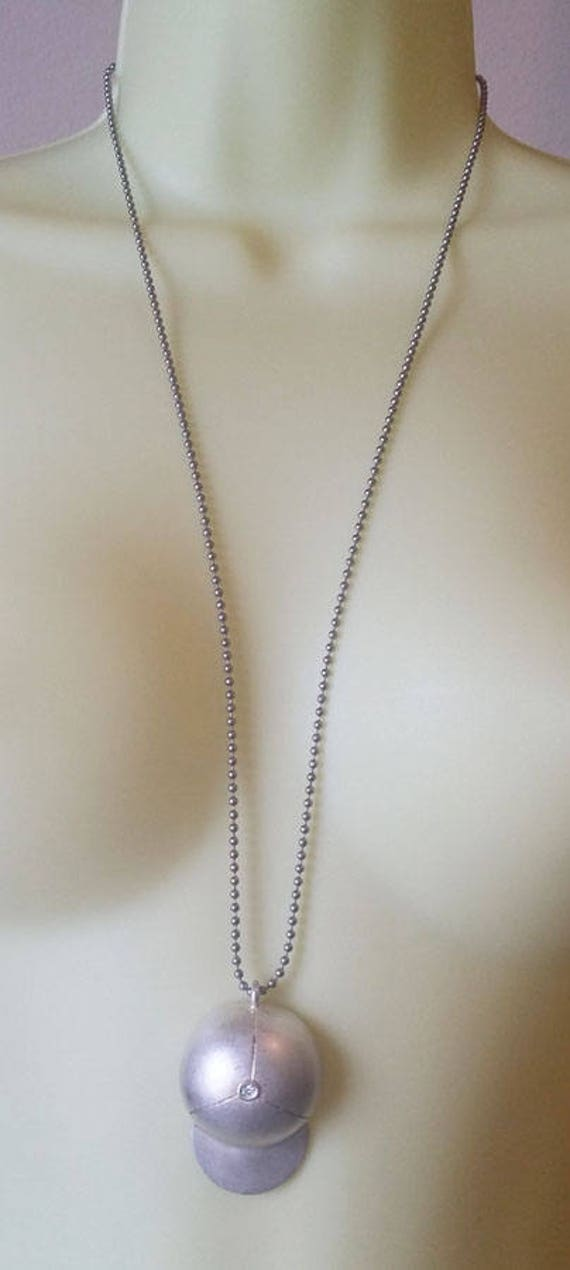 baseball cap necklace long necklace ball chain base ball hat sports metal jewelry silver handmade