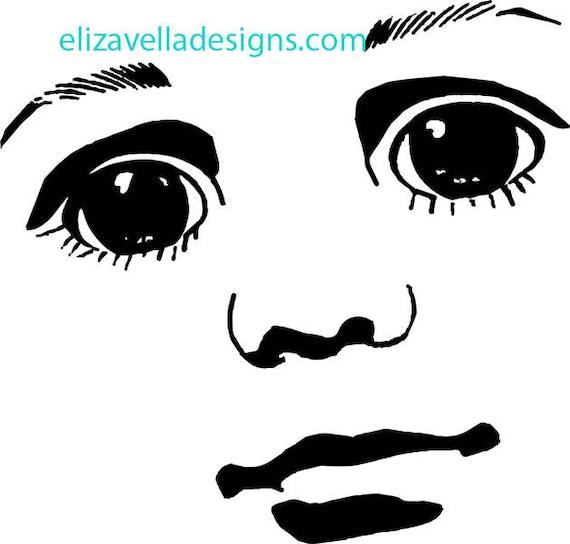 digital boy doll face clipart png clip art graphics Image Download eyes lips JPG PNG  digital stamp black and white printables