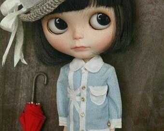 jiajiadoll - Real Button Holes Union Jack blue stripes long shirts dress fit momoko misaki blythe azone middie lati imda