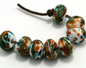 Party Handmade Glass Lampwork Beads (8 Count) by Pink Beach Studios (2605)