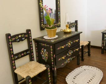 Dollhouse miniature chest  with drawers 1:12 scale handpainted Portuguese folk-art syle with a black background  decorated with tiny flowers