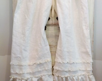 White Linen Bloomers | Washed Linen Bloomers | Linen Pants | Linen Bloomers Ruffles and Lace | The Wild Raspberry