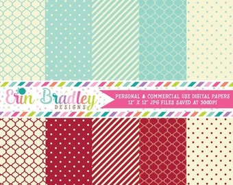 80% OFF SALE Digital Paper Pack Personal & Commercial Use Blue Red and Cream Patterns Instant Download