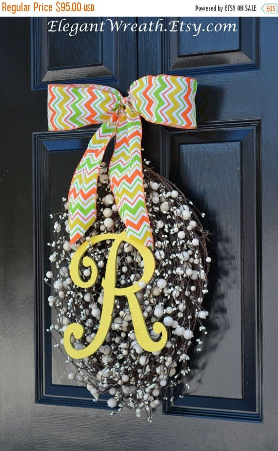 SUMMER WREATH SALE Monogram Egg Wreath- Easter Wreaths- Egg Easter Wreaths  Easter Decor- Monogram Wreath- Spring Wreath
