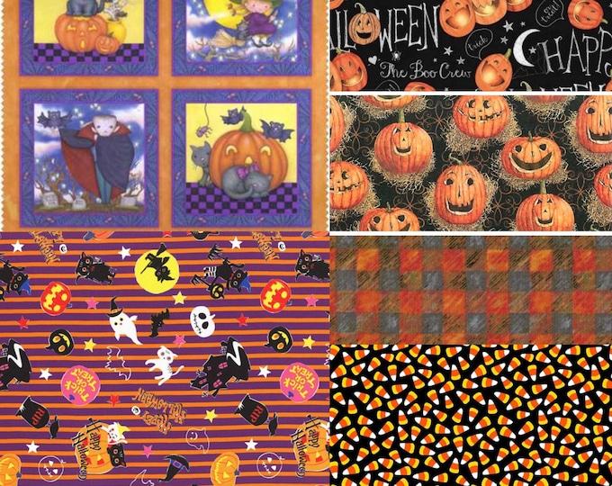 HALLOWEEN FABRIC BUNDLE, Six Halloween Cotton Fabrics in yardage of your choice