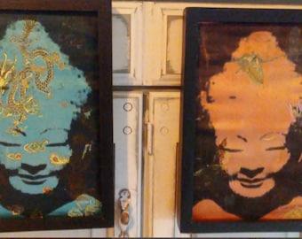 Vintage Bohemian Silk Prints Framed Set of Two