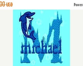 SALE 65% OFF Ocean Dolphin Machine Embroidery Monogram Fonts Designs Instant Download Sale