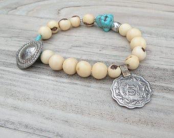 Gypsy Mala Bracelet, Buddha Bracelet, Acai Seed Bracelet, Cream and Turquoise, Mala Style Bracelet, Handmade