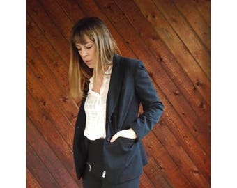 20% off SUMMER SALE. . . Black Fitted Button Front Blazer Jacket - Vintage 90s - XS