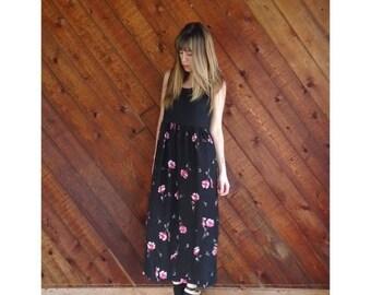 20% off SUMMER SALE. . . Black Rib Sleeveless Floral Maxi Dress - Vintage 90s - S/M