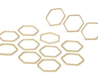 Hexagon Ring Charm, 50 Raw Brass Hexagon Connectors (16x0.80mm) Bs-1165