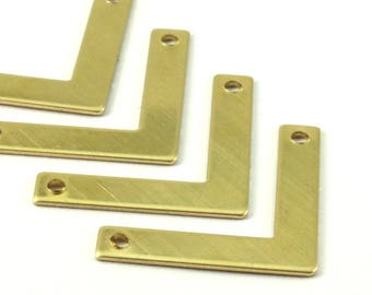 Chevron Necklace Finding, 10 Raw Brass Chevron Pendants For Necklaces And Bracelets With 2 Holes (35x20x5x0.80mm) B0179