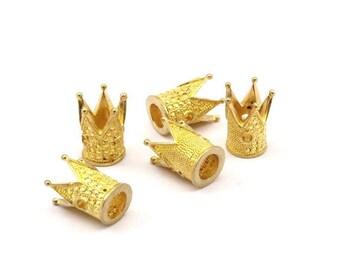 6 Raw Brass Crown Beads 11x9mm R075