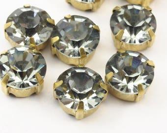20 Ss45 Black Diamond Chaton Sew On Rhinestone Raw Brass Prong Setting 4 Hole Slider 10mm K345