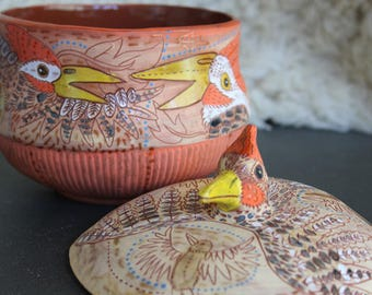 Woodpecker Ceramic Jar, cookie jar, treat jar, handbuilt pottery