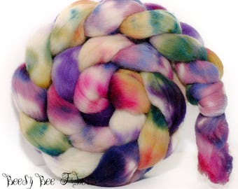 CANDY STORE - Corriedale Wool Roving Hand Dyed Combed Top Spinning Felting fiber- 4.1 ounces