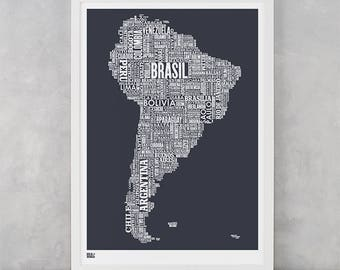 South America Type Map Screen Print, South America Wall Art, South America Word Map, South America Wall Poster, South America Map, America