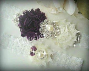 Eggplant Purple, Wedding garter Set, Bridal Garter Set, Purple Garter Set, Ivory Garter, Rhinestone garter,Vintage Inspired Garter Set,