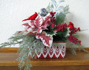 Christmas Holiday Red and Mint Green Victorian Silk Floral Arrangement with Cardinals