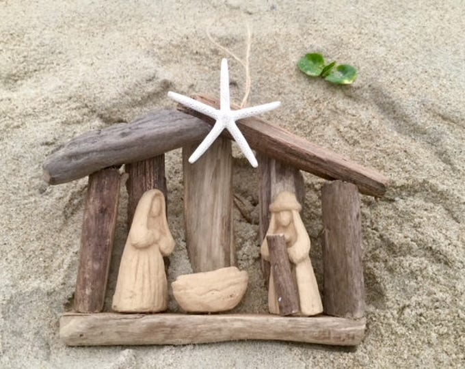 5 Driftwood manger ornament teacher family Christmas decor Baby first Christmas Baby Jesus BeachHouseDreams Across the miles Outer Banks OBX